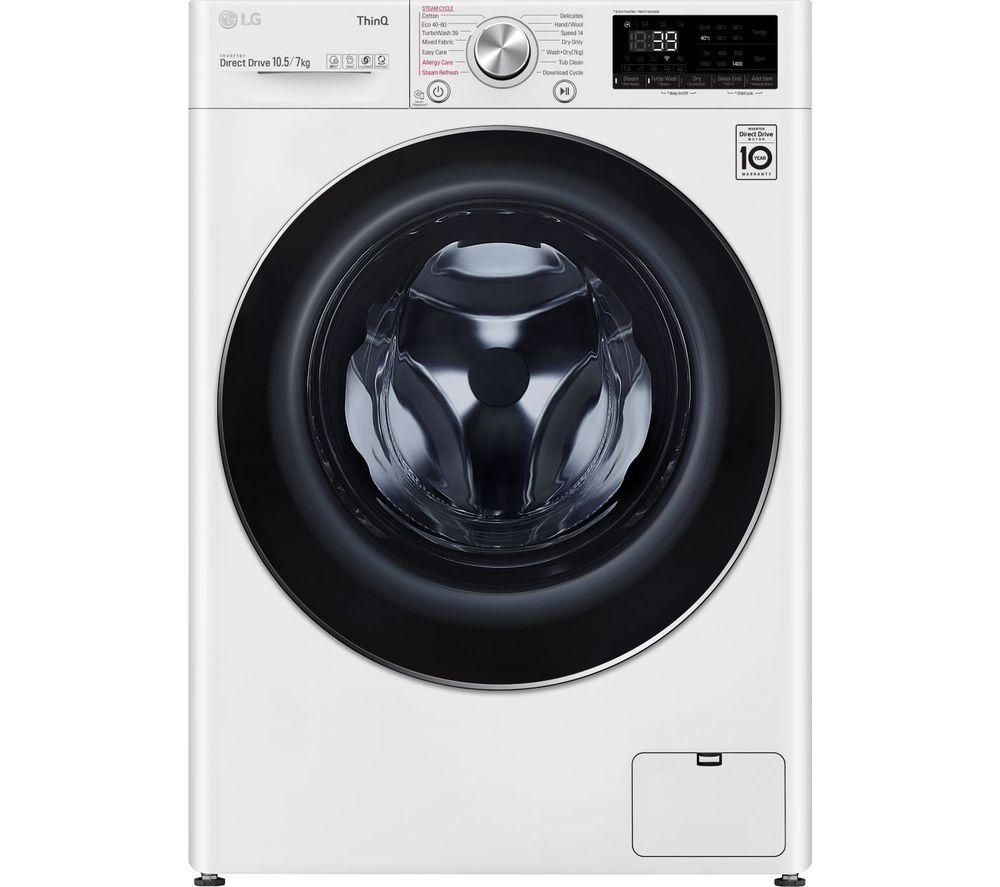 LG TurboWash 360 with AI DD V9 FWV917WTSE WiFi-enabled 10.5 kg Washer Dryer - White, White