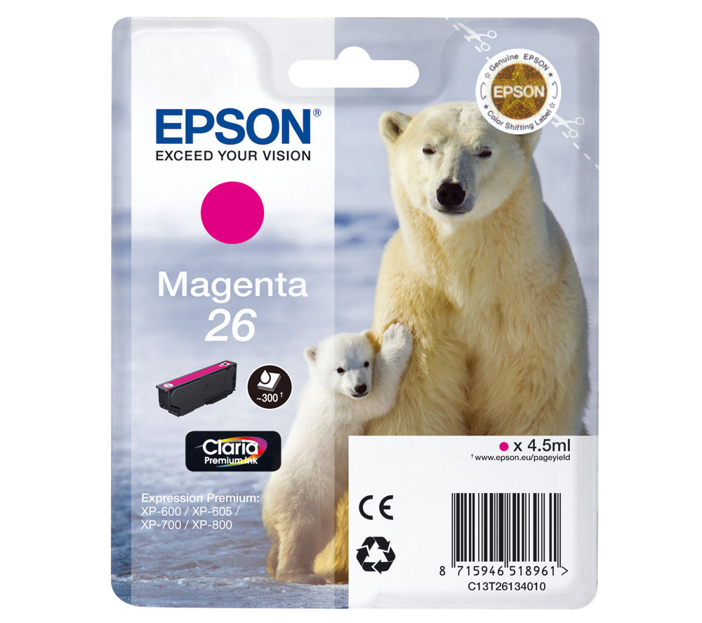 EPSON Polar Bear T2613 Magenta Ink Cartridge, Magenta