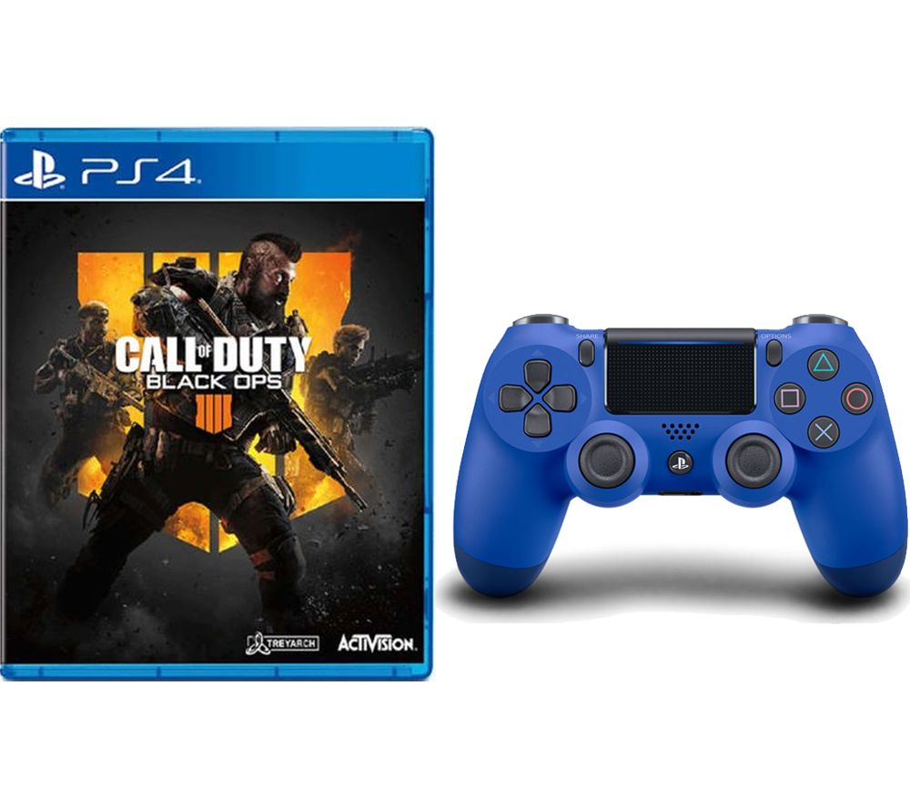 PS4 Call of Duty: Black Ops 4 & DualShock 4 V2 Wireless Controller Bundle - Blue, Black