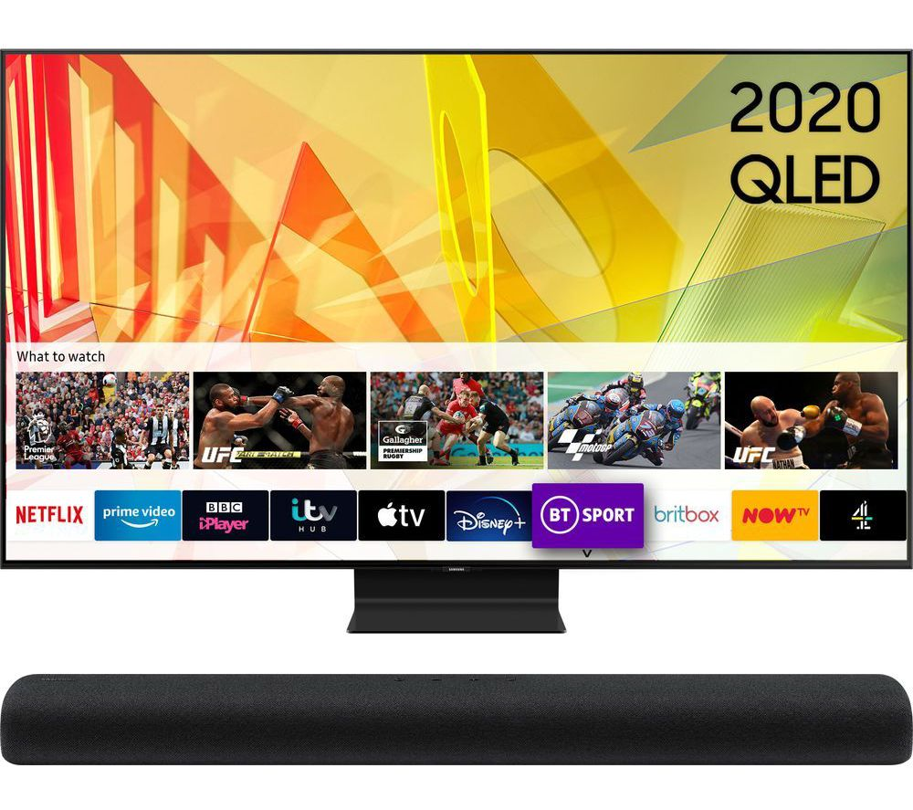 "75"" QE75Q90TATXXU  Smart 4K Ultra HD HDR QLED TV & HW-S60T/XU 4.0 All-in-One Sound Bar Bundle"