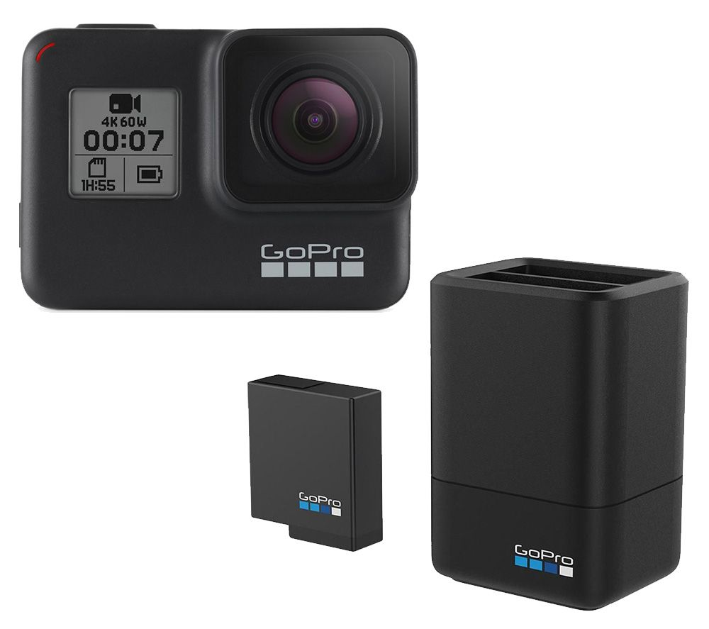 Gopro HERO7 Black Action Camera & Dual Gopro HERO Battery Charger with Battery Bundle, Black