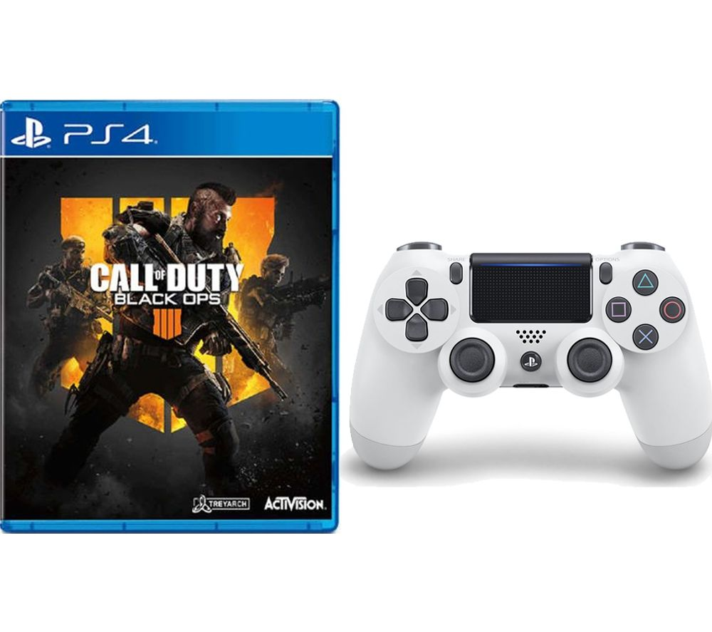 PS4 Call of Duty: Black Ops 4 & DualShock 4 V2 Wireless Controller Bundle - White, Black