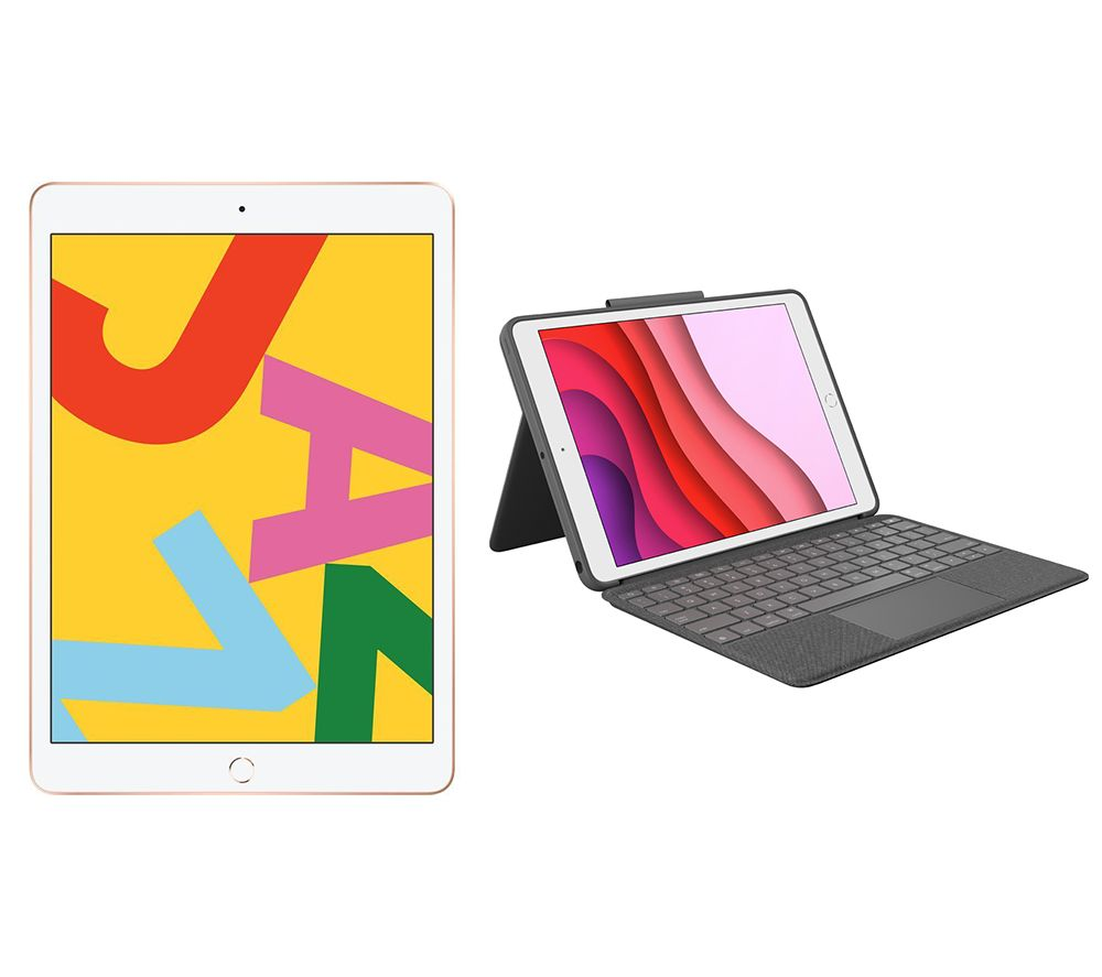 "APPLE 10.2"" iPad (2019) & Combo Touch iPad 10.2"" Keyboard Folio Case Bundle - 32 GB, Gold, Gold"