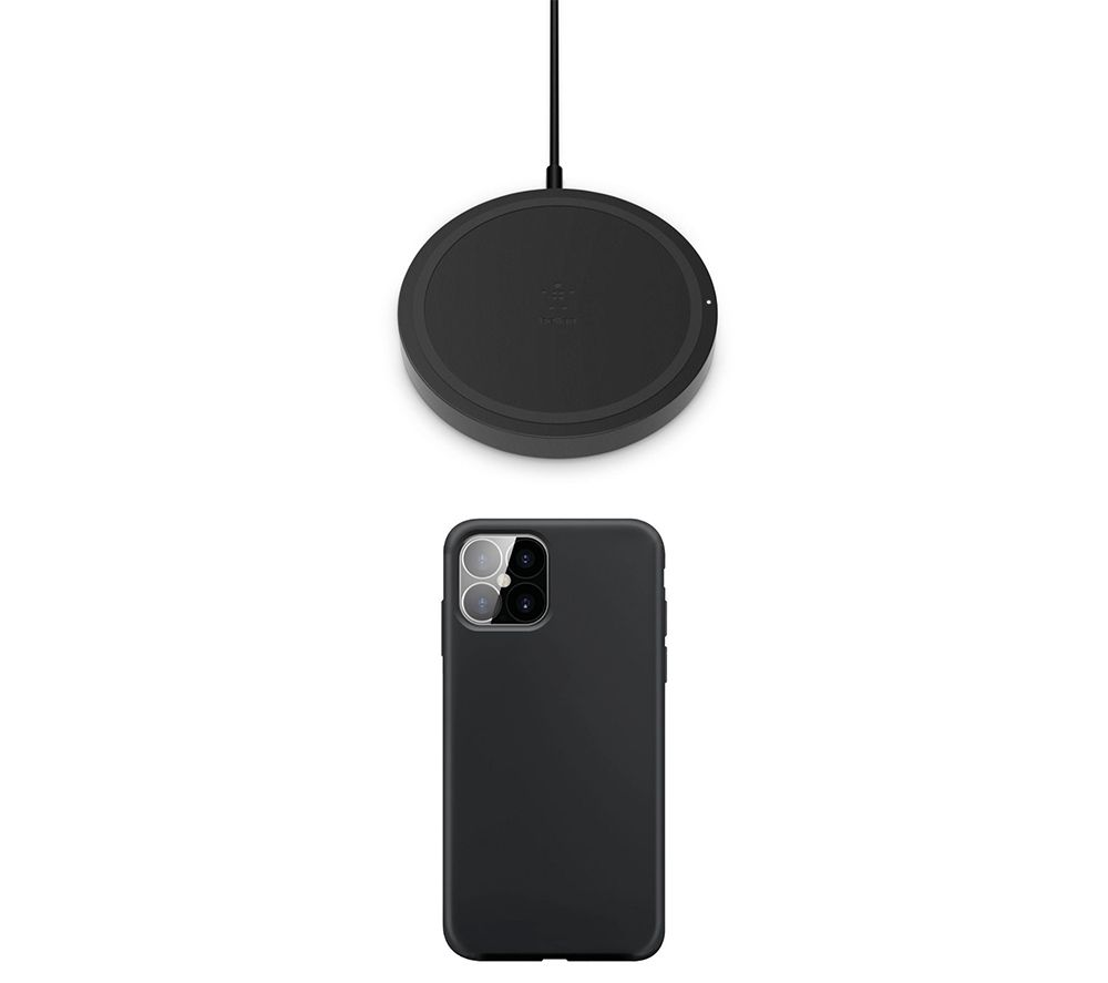 "XQISIT iPhone 12 Pro 6.1"" Case & Qi Wireless Charging Pad Bundle - Black, Black"
