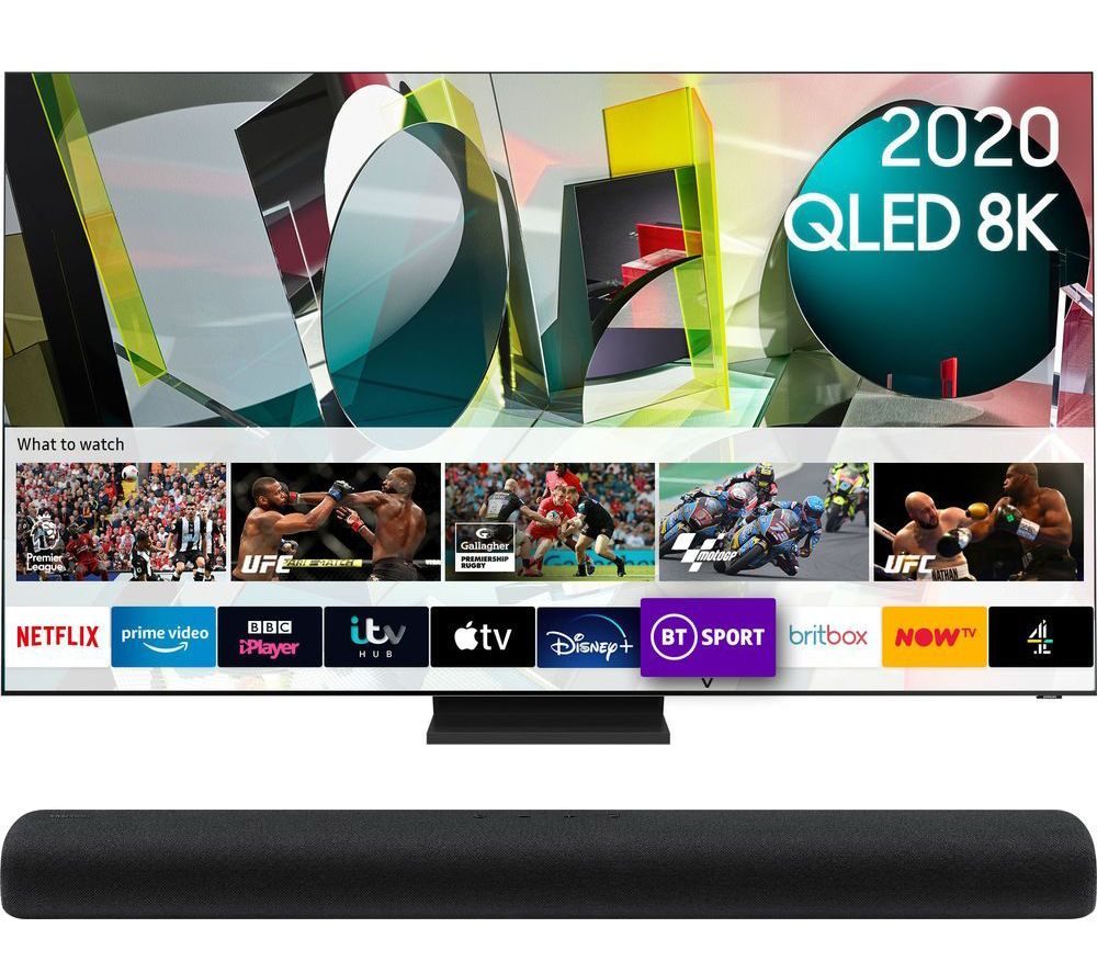 "65"" QE65Q950TSTXXU  Smart 8K HDR QLED TV & HW-S60T/XU 4.0 All-in-One Sound Bar Bundle"