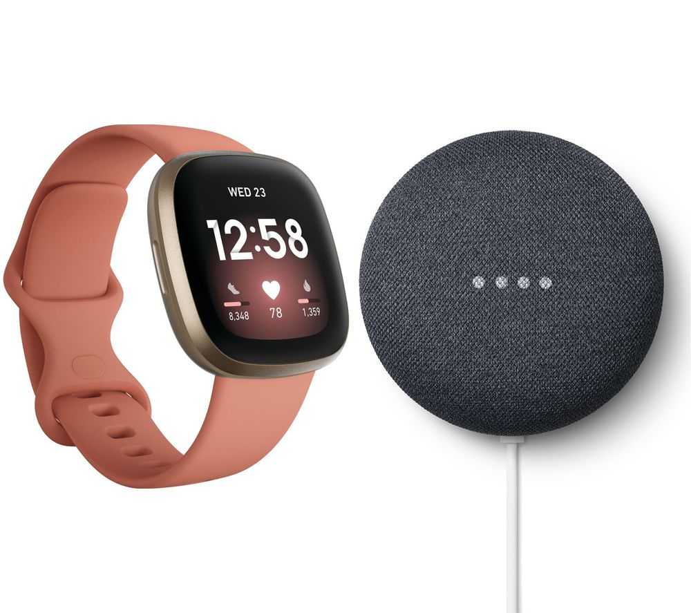 FITBIT Versa 3 & Nest Mini (2nd Gen) Bundle - Pink Clay & Soft Gold & Charcoal, Pink
