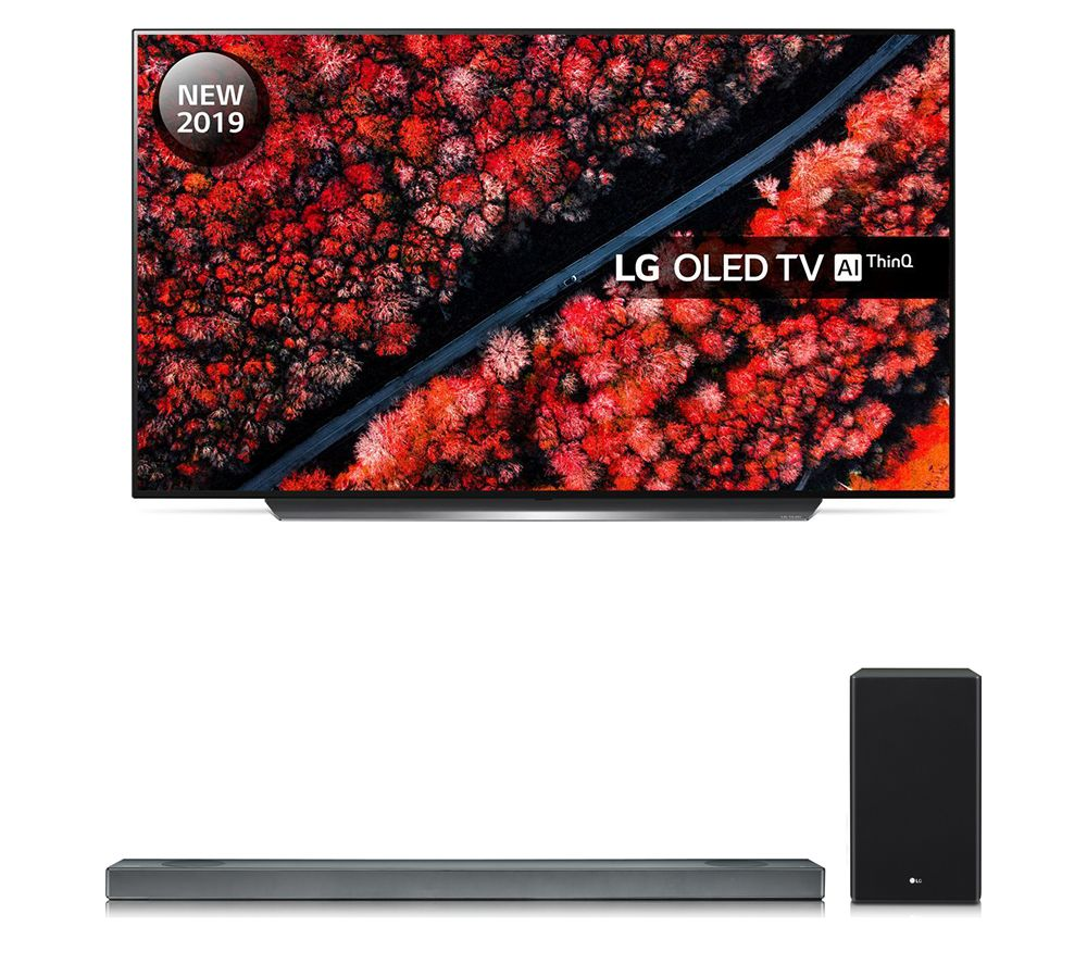 "LG SL9YG 4.1.2 Wireless Sound Bar with Dolby Atmos & OLED65C9MLB 65"" Smart 4K Ultra HD HDR OLED TV with Google Assistant Bundle, Black"