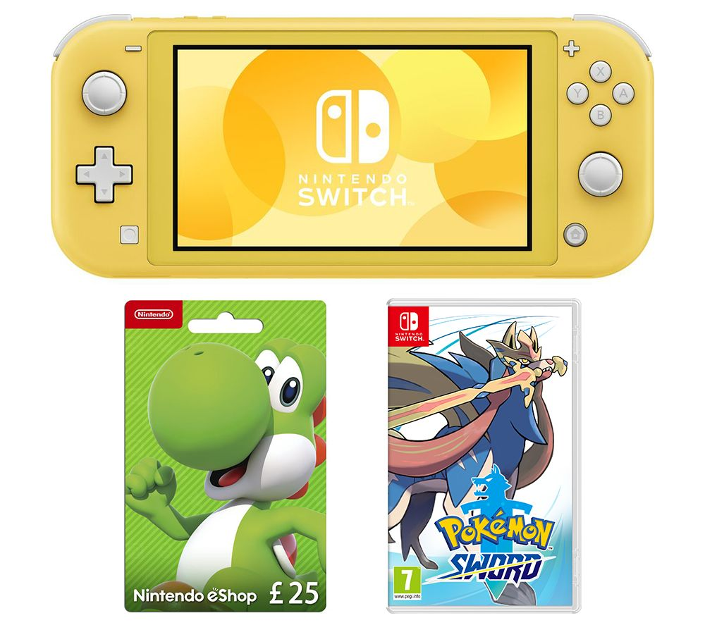 Nintendo Switch Lite, Pokemon Sword & £25 eShop Gift Card Bundle - Yellow, Yellow