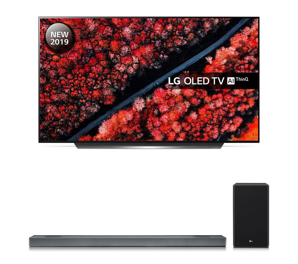 "LG SL9YG 4.1.2 Wireless Sound Bar with Dolby Atmos & OLED55C9MLB 55"" Smart 4K Ultra HD HDR OLED TV with Google Assistant Bundle, Black"