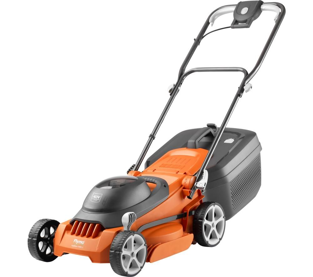 FLYMO EasiStore 340RLi Cordless Rotary Lawn Mower - Orange & Grey, Orange