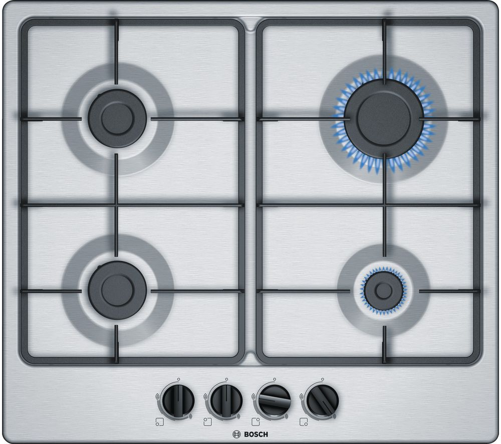 BOSCH Serie 4 PGP6B5B60 Gas Hob - Stainless Steel, Stainless Steel
