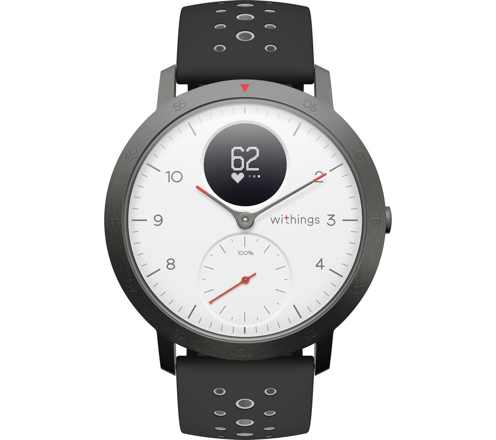 WITHINGS Steel HR Sport Smartwatch - White, Grey & Black, Silicone Strap, White