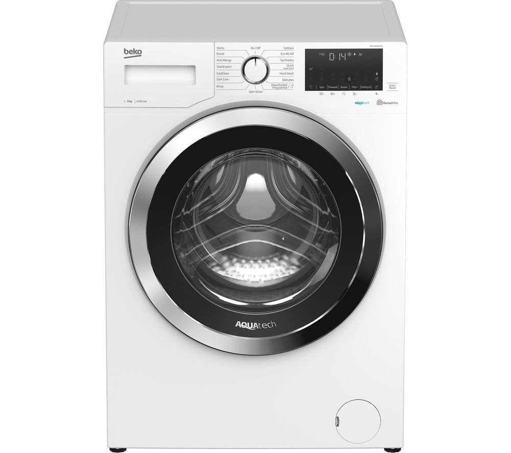 BEKO Aquatech WEX94064E0W Bluetooth 9 kg 1400 Spin Washing Machine - White, White