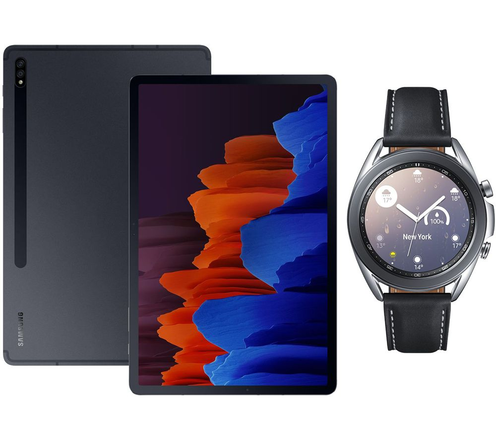 "SAMSUNG Galaxy Tab S7 Plus 12.4"" Tablet & Silver Galaxy Watch3 Bundle, Silver"