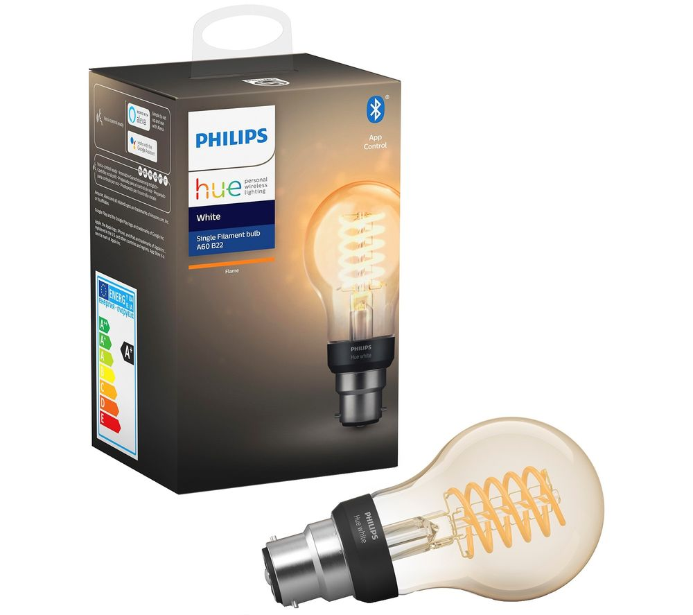 PHILIPS Hue Filament Bluetooth LED Bulb - A60, B22, White