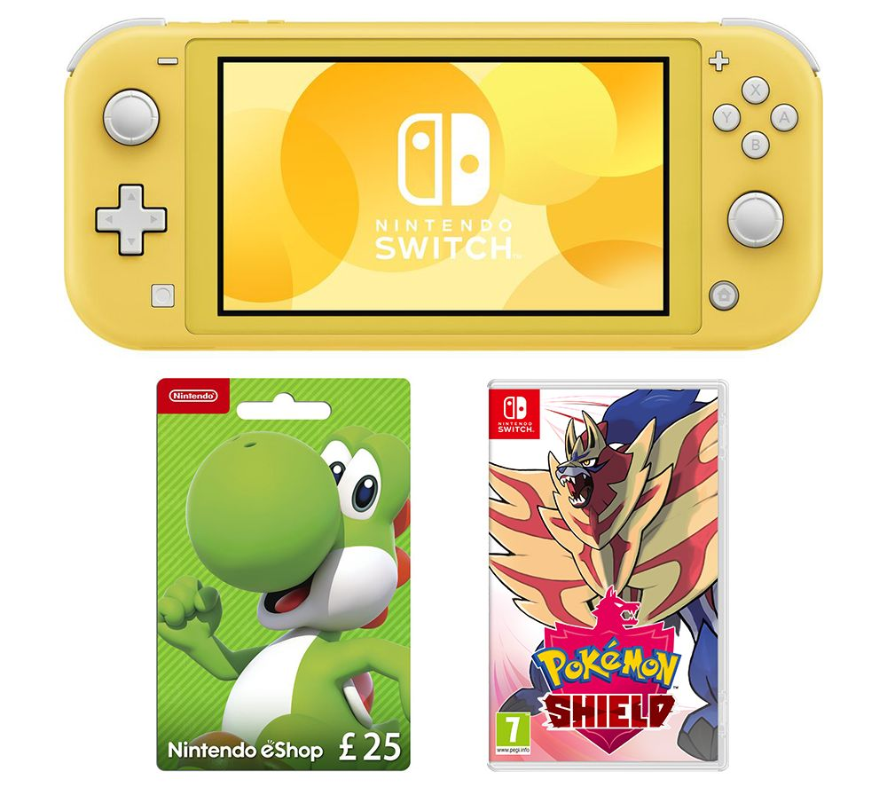 Nintendo Switch Lite, Pokemon Shield & eShop £25 Gift Card Bundle - Yellow, Yellow
