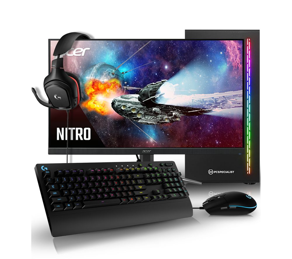 "PC SPECIALIST Vortex AR Gaming PC, Acer Nitro 23.8"" VA LCD Monitor, Logitech Level Up Keyboard, Mouse & Headset Bundle, Black"