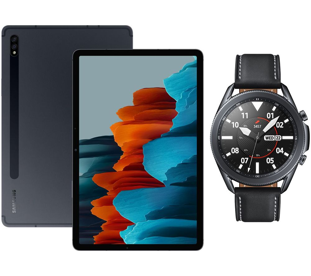 "SAMSUNG Galaxy Tab S7 11"" Tablet & Black Galaxy Watch3 Bundle, Black"