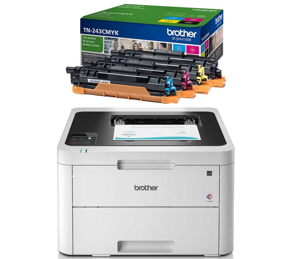 BROTHER HLL3230CDW Wireless Laser Printer & TN243CMYK Toner Cartridges Bundle, Cyan