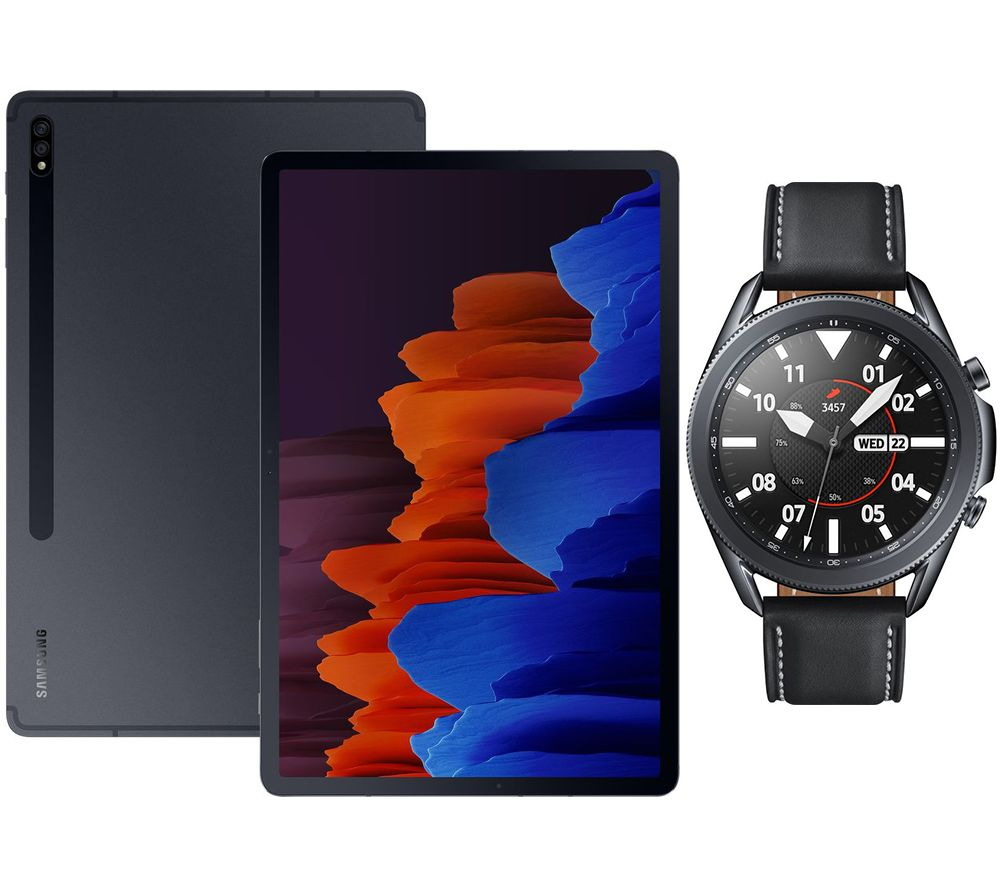 "SAMSUNG Galaxy Tab S7 Plus 12.4"" Tablet & Black Galaxy Watch3 Bundle, Black"