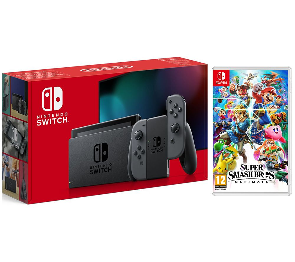 NINTENDO Switch Grey & Super Smash Bros. Ultimate Bundle, Grey