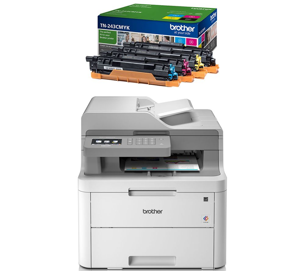 BROTHER DCPL3550CDW All-in-One Wireless Laser Printer & TN243CMYK Toner Cartridges Bundle, Cyan