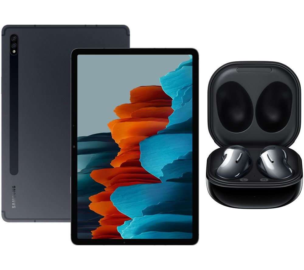 "SAMSUNG Galaxy Tab S7 11"" Tablet & Black Galaxy Buds Live Bundle, Black"