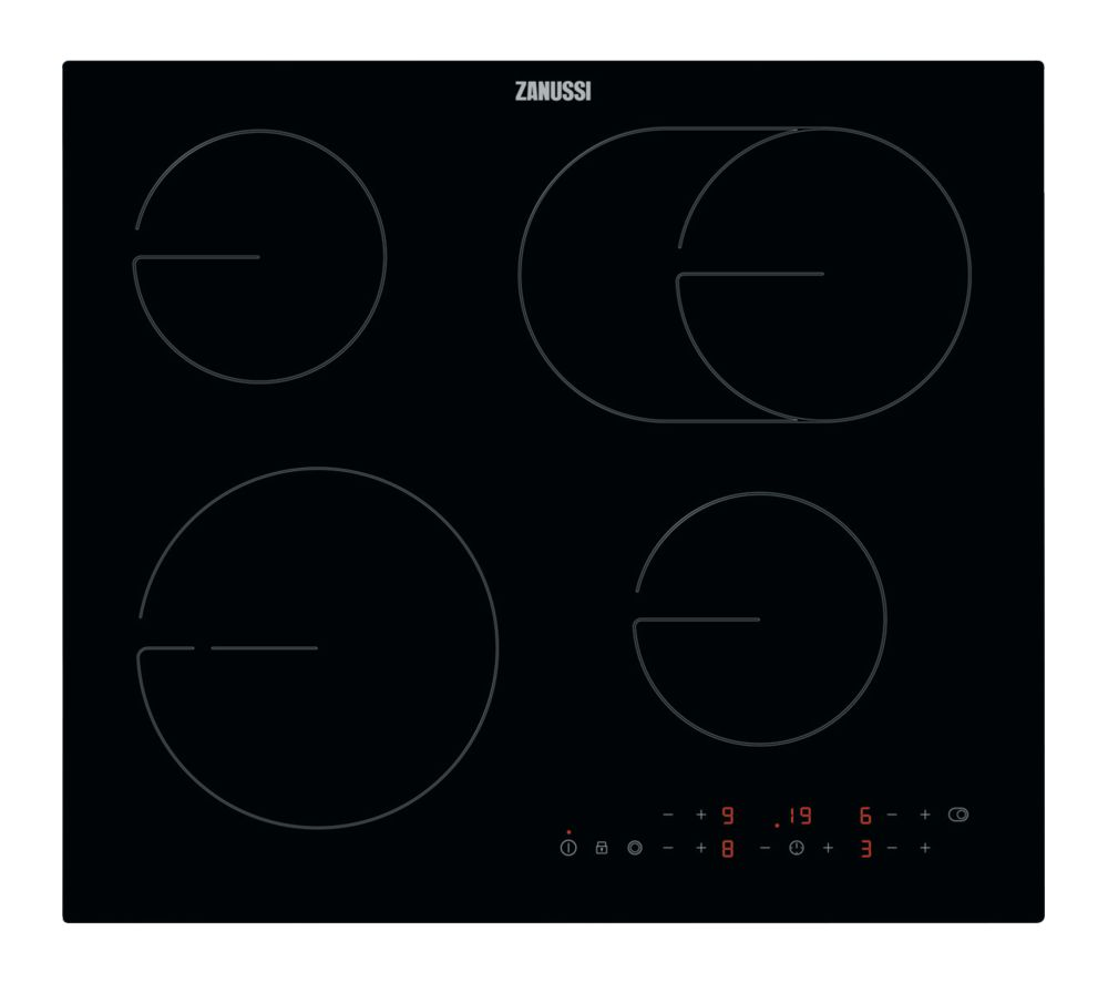 ZANUSSI OvalZone ZHRN673K Electric Ceramic Hob - Black Glass, Black