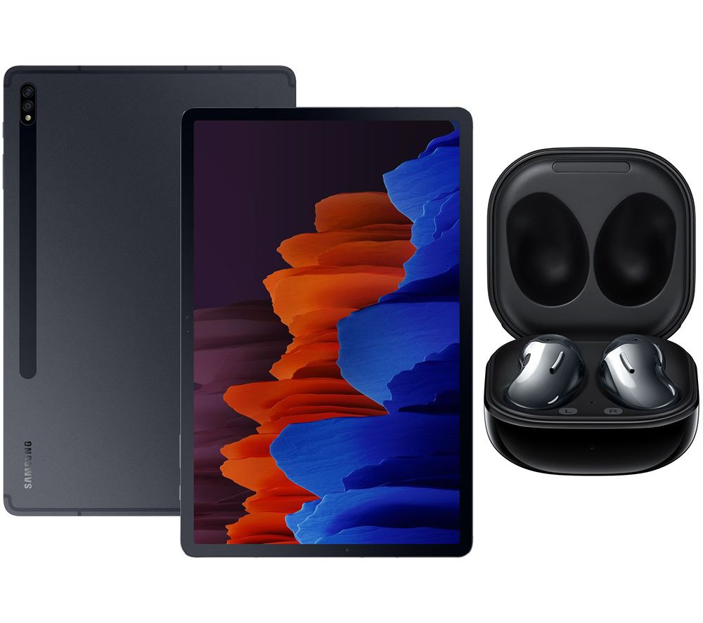 "SAMSUNG Galaxy Tab S7 Plus 12.4"" Tablet & Black Galaxy Buds Live Bundle, Black"