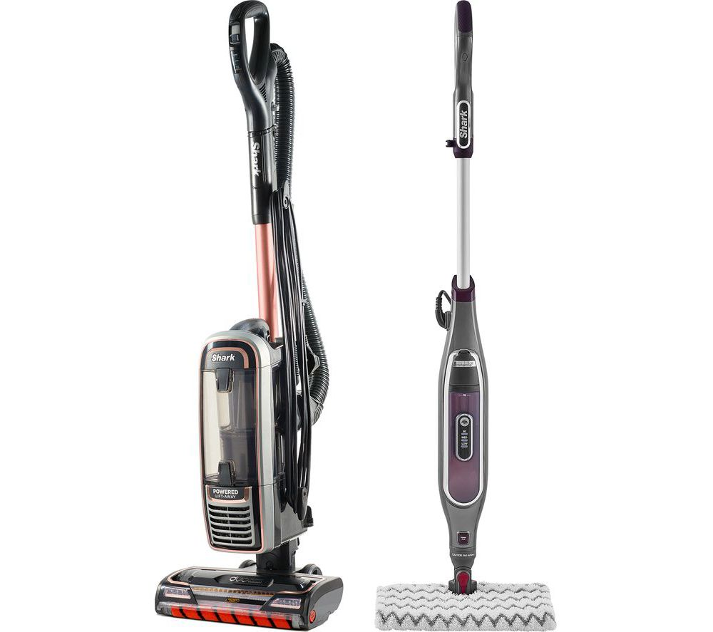 Shark DuoClean Powered Lift-Away True Pet Anti Hair Wrap AZ910UKT Upright Bagless Vacuum Cleaner & Klik N' Flip Steam Mop Bundle, Stone