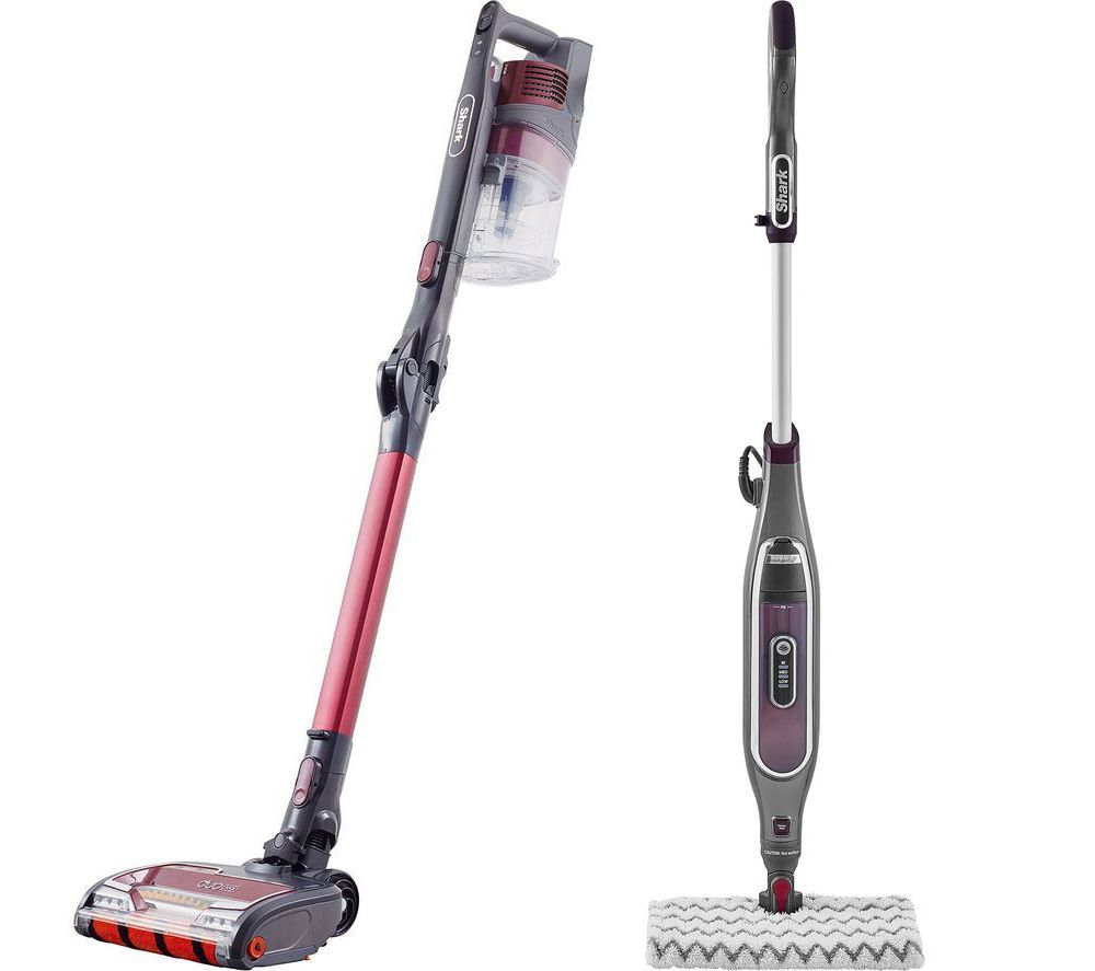 Shark Flexology True Pet Anti Hair Wrap IZ251UKT Cordless Vacuum Cleaner & Klik N' Flip Steam Mop Bundle - Red, Red