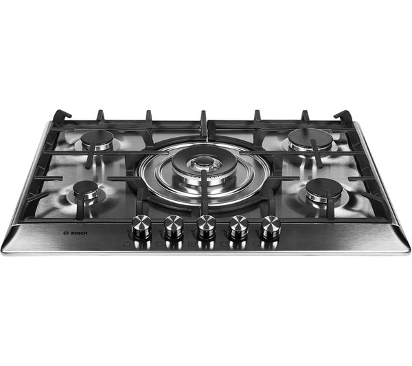 BOSCH PCQ715B90E Gas Hob - Brushed Steel, Brushed Steel