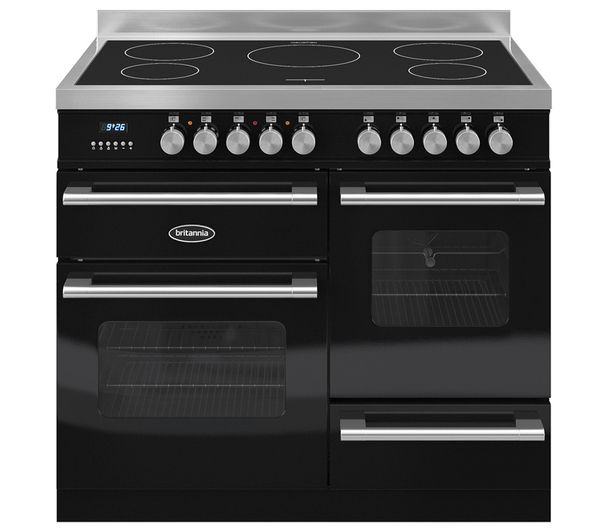BRITANNIA RC10XGIDEK Electric Induction Range Cooker - Gloss Black & Stainless Steel, Stainless Steel