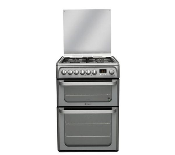 HOTPOINT HUD61G Dual Fuel Cooker - Graphite, Graphite