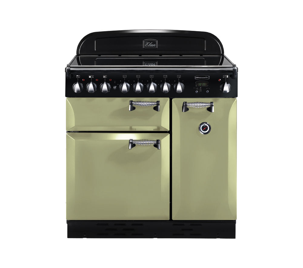 RANGEMASTER Elan 90 Electric Induction Range Cooker - Olive Green & Chrome, Olive