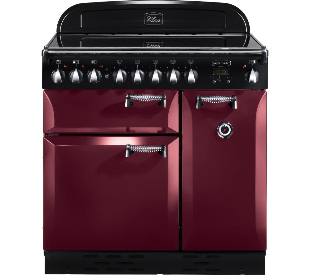 RANGEMASTER Elan 90 Electric Induction Range Cooker - Cranberry & Chrome, Cranberry