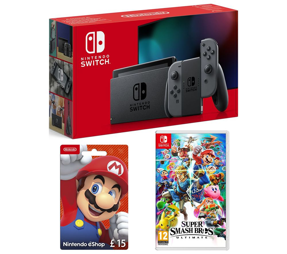 NINTENDO Switch, Super Smash Bros. Ultimate & eShop £15 Gift Card Bundle