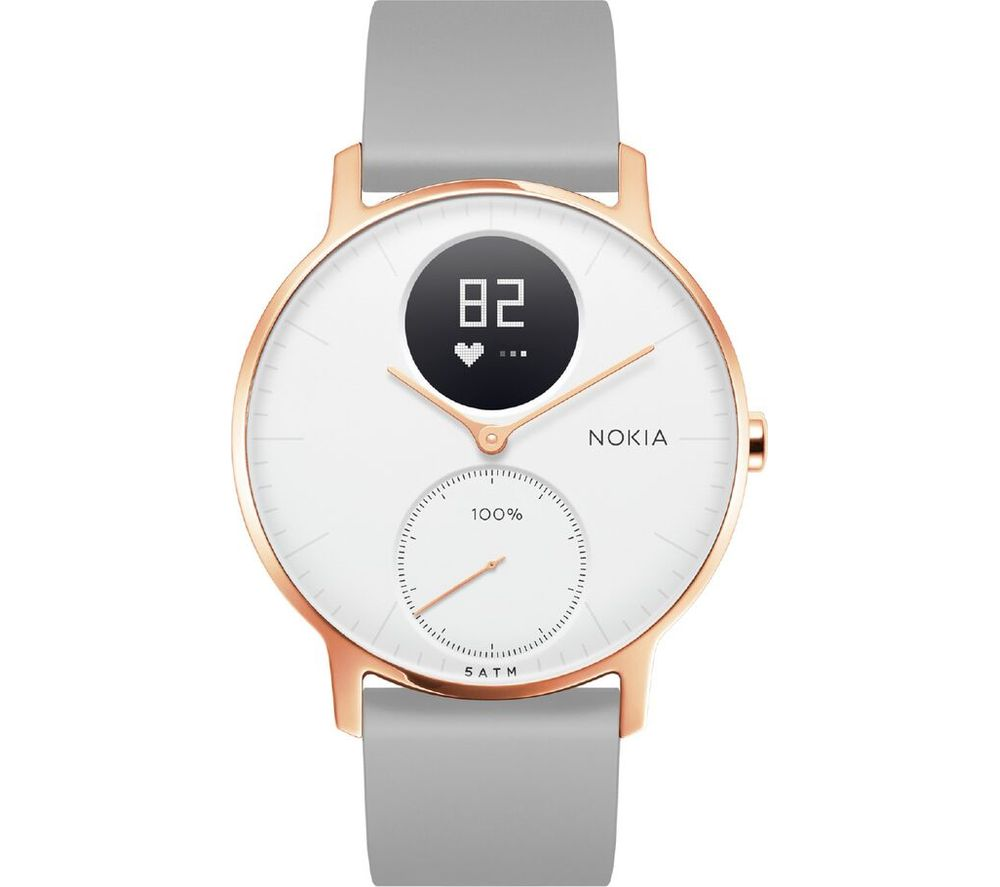 NOKIA Steel HR 36 Fitness Watch - Rose Gold & Grey, Silicone Strap, Gold