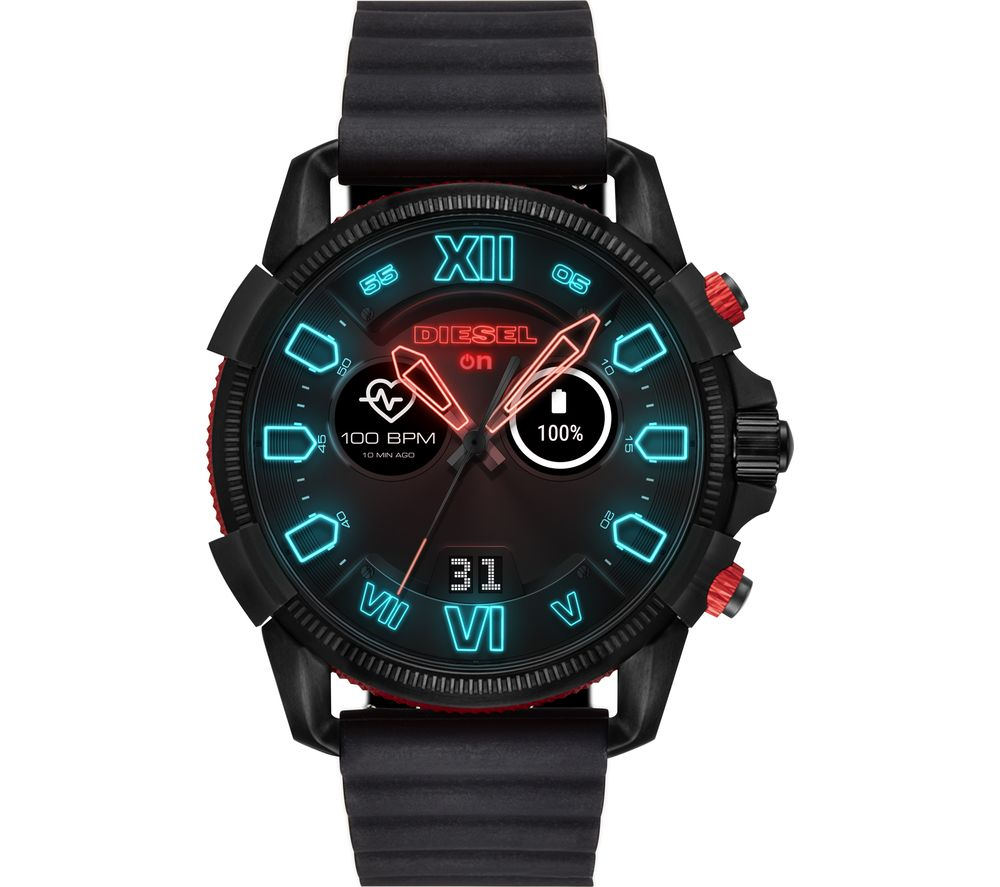 Diesel Full Guard 2.5 DZT2010 Smartwatch - Black & Red, Silicone Strap, Black