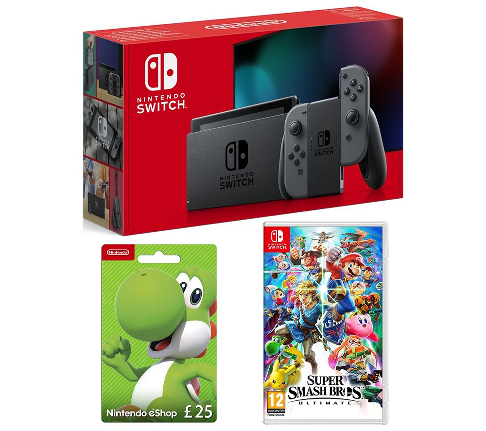 NINTENDO Switch, Super Smash Bros. Ultimate & eShop £25 Gift Card Bundle