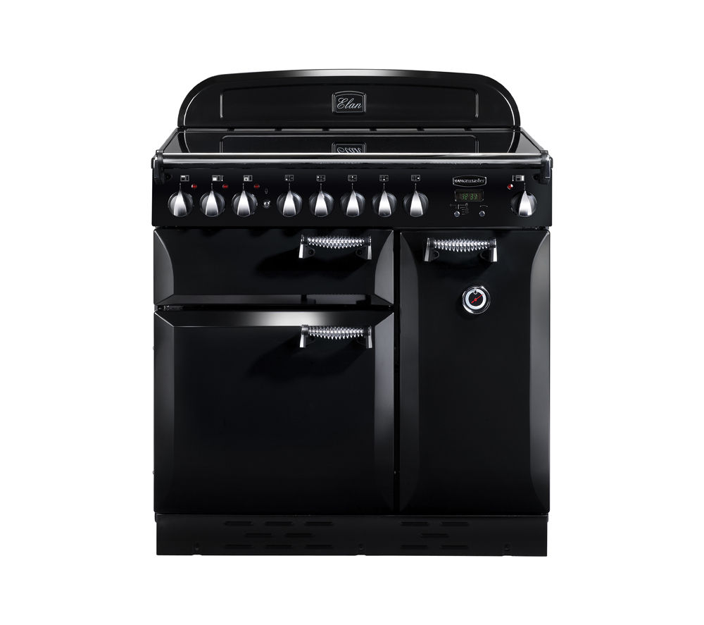 RANGEMASTER Elan 90 Electric Induction Range Cooker - Black & Chrome, Black