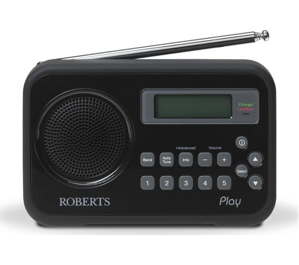 ROBERTS Play Portable DAB Radio - Black, Black
