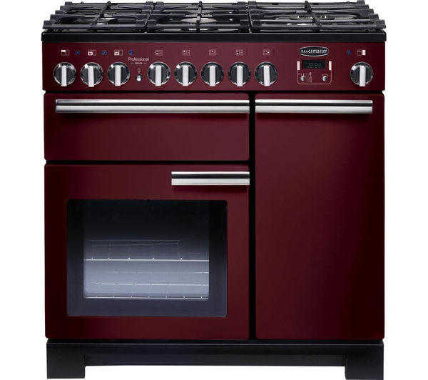 Rangemaster Professional Deluxe 90 Dual Fuel Range Cooker - Cranberry & Chrome, Cranberry
