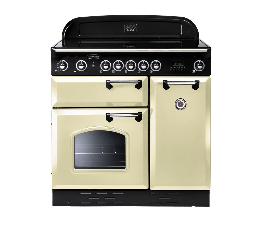 RANGEMASTER Classic 90 Electric Ceramic Range Cooker - Cream & Chrome, Cream