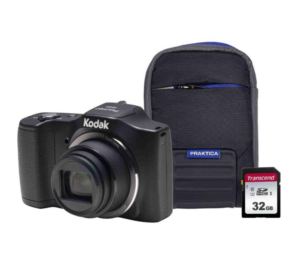 KODAK PIXPRO Friendly Zoom FZ152 Compact Camera Kit with 32 GB SD Card and Case - Black, Black