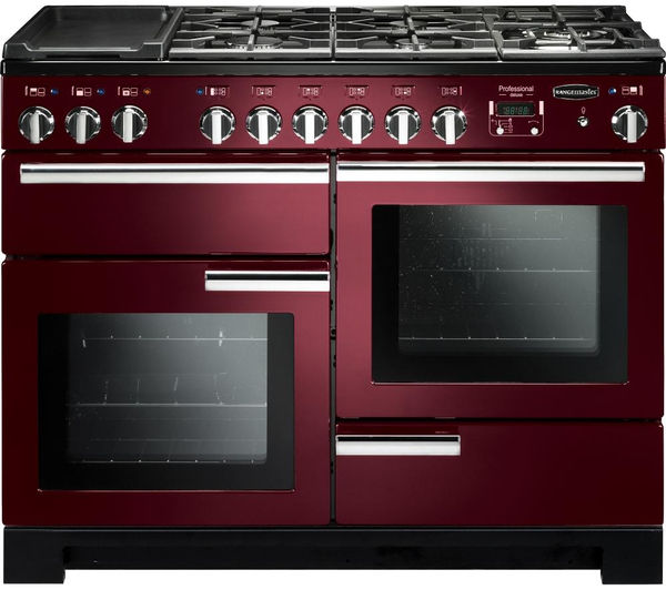 Rangemaster Professional Deluxe 110 Dual Fuel Range Cooker - Cranberry & Chrome, Cranberry