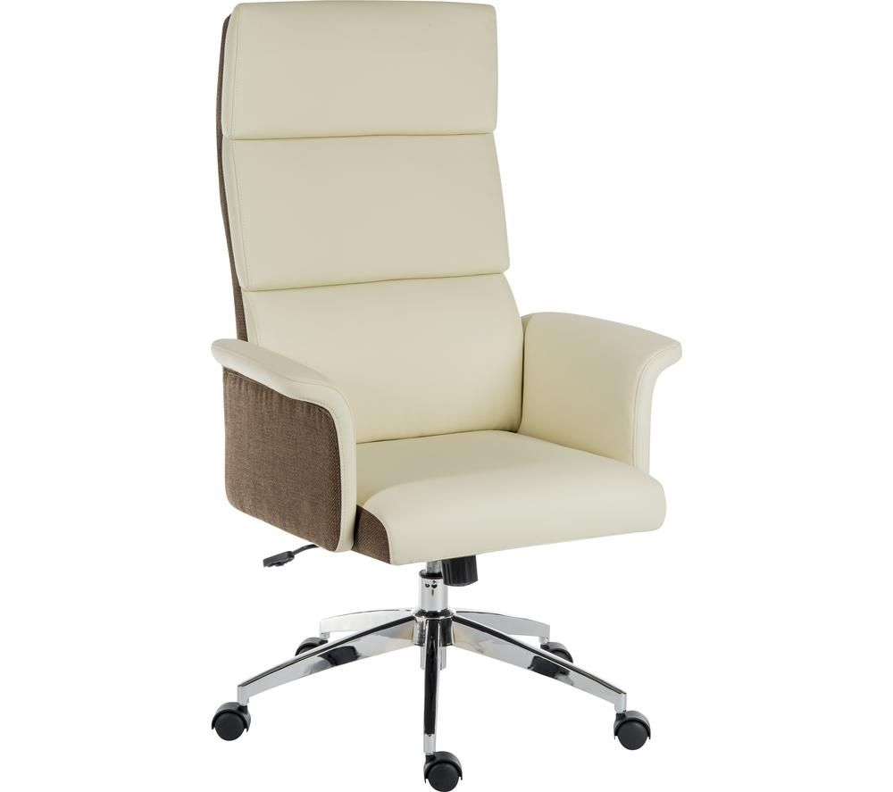TEKNIK Elegance High Faux-Leather Executive Chair - Cream & Brown, Cream