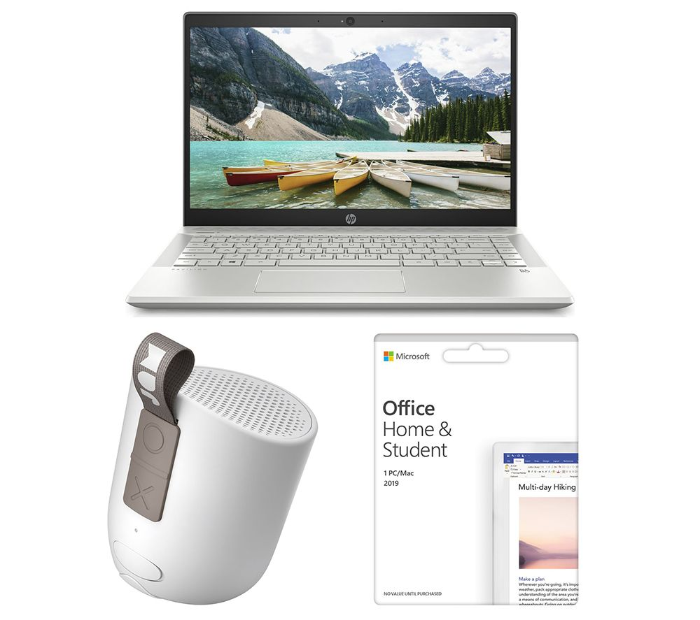 "MICROSOFT Pavilion 14-ce3506sa 14"" Laptop, Office Home & Student 2019 & Chill Out HX-P202GY Portable Bluetooth Speaker Bundle"