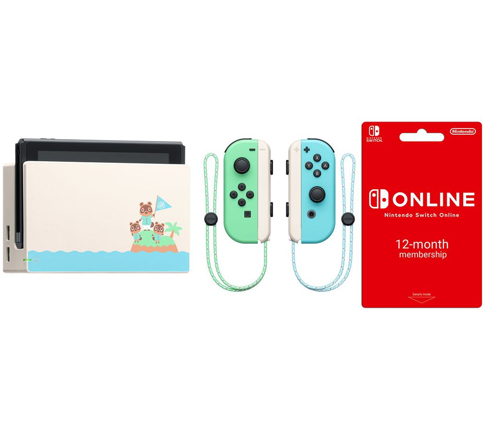 NINTENDO Switch - Animal Crossing: New Horizons Edition & Switch Online 12 Month Membership Bundle