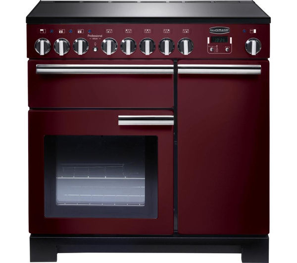 Rangemaster Professional Deluxe 90 Electric Induction Range Cooker - Cranberry & Chrome, Cranberry